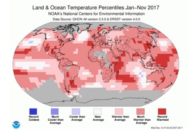 Diferencial de temperaturas entre enero y noviembre de 2017 respecto a la media historica (los colores rosados y rojos muestran las zonas más cálidas)