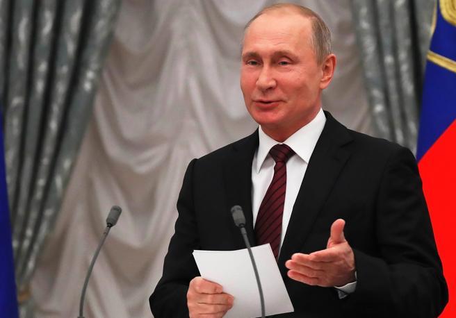 El presidente ruso, Vladímir Putin, en una entrega de premios en el Kremlin de Moscú