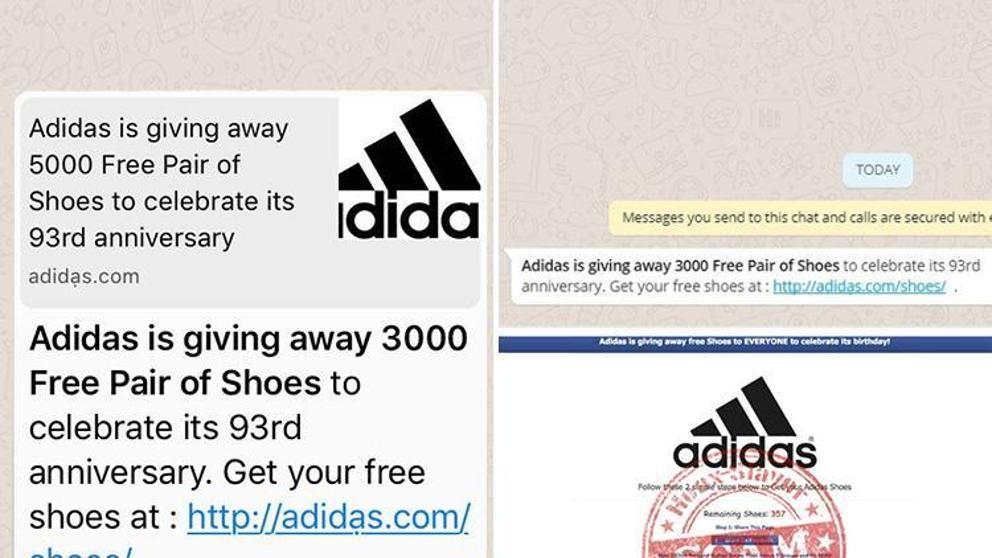Zapatillas gratis en WhatsApp, el nuevo timo en el que no debes caer