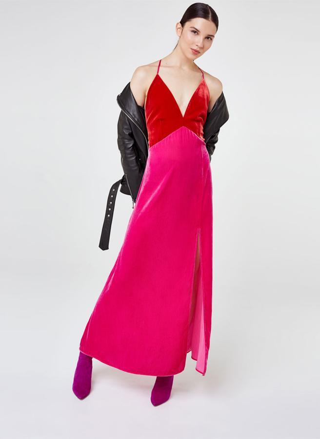 Vestido bicolor de Uterqüe (129 euos)