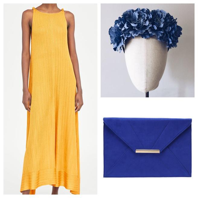 Vestido de Zara, clutch de Dorothy Perkins y corona de Moncollier