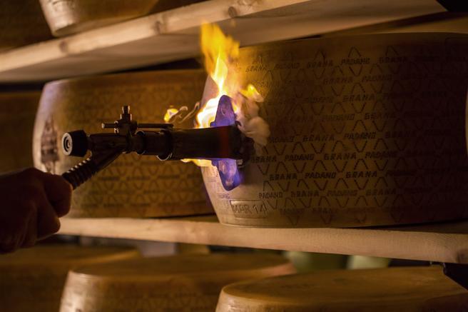 Cuando el queso está madurando se marca con fuego su insignia