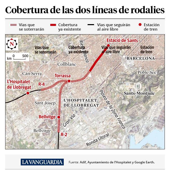 La cobertura de las dos vías que cruzan L'Hospitalet de Llobregat permitirá recoser casi toda la ciudad