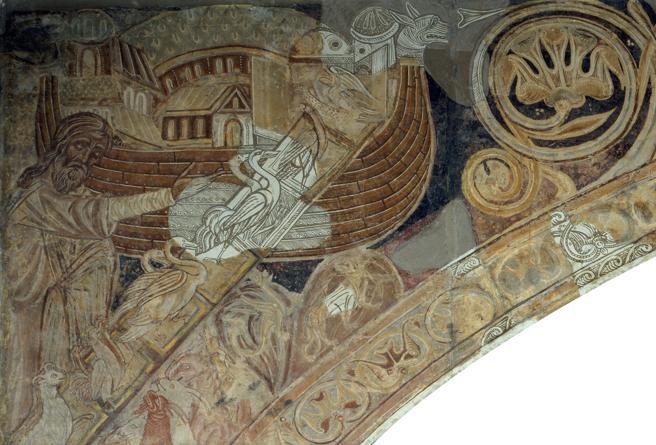 Fragmento de los murales de la sala capitular del monasterio de Sigena, que se exponen en la sala 16 del MNAC.