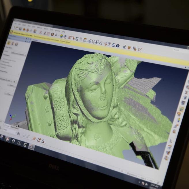 Imagen de la digitalización de los sepulcros de los condes de Urgell.