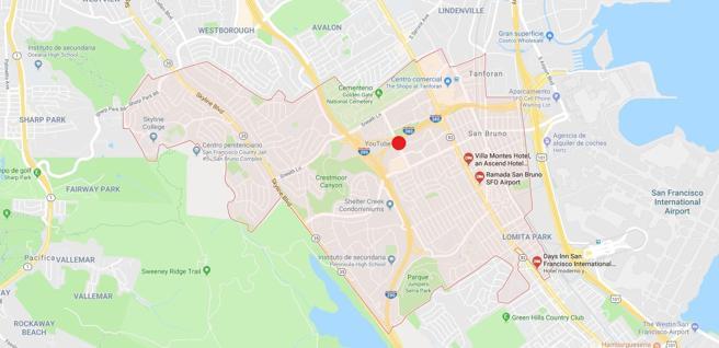 Localización de las oficinas centrales de Youtube, en California, donde la policía está respondiendo a un tiroteo