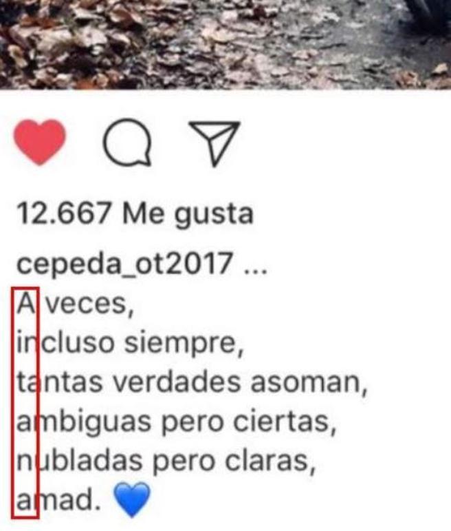 El texto que escribió Cepeda en Instagram con el acróstico de Aitana