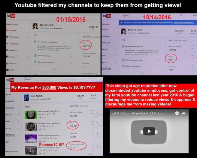 Nasim Aghdam se quejaba de la pérdida de visitas sin explicaciones y la escasa monetización de sus vídeos