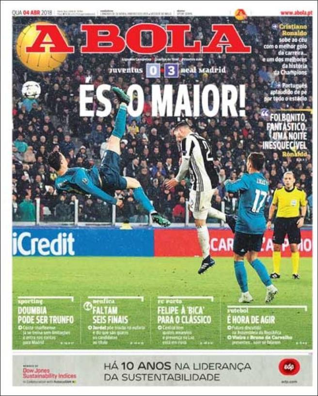A Bola dedica su portada a la chilena de Ronaldo