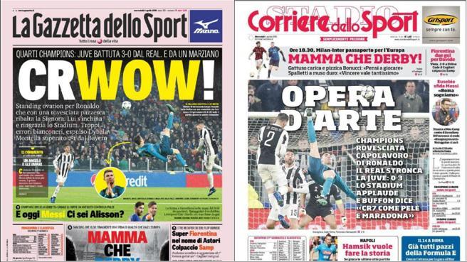 Los periódicos italianos aplauden la chilena de Cristiano Ronaldo