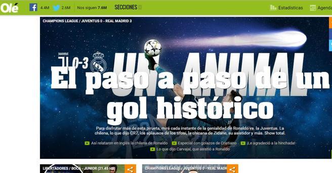 Edición online del diario Olé hablando del gol de Ronaldo