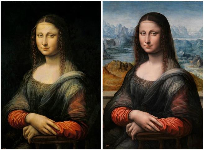 La Gioconda de Madrid antes y después de la restauración.