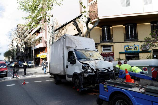 Barcelona. El camión siniestrado