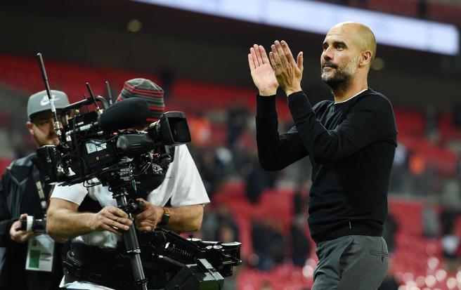 Pep Guardiola celebra una victoria