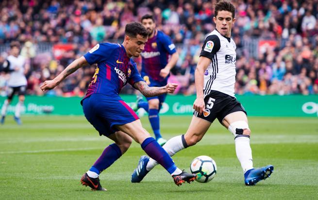 Philippe Coutinho, durante el partido ante el Valencia