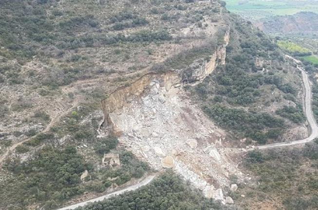 Imagen aérea del desprendimiento en la carretera LV-9124