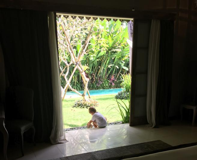 Vista del jardín desde una de las habitaciones de la casa de Bali