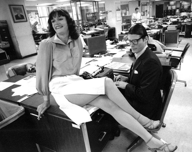 Margot Kidder y Christopher Reeve en un momento del rodaje de 'Superman'