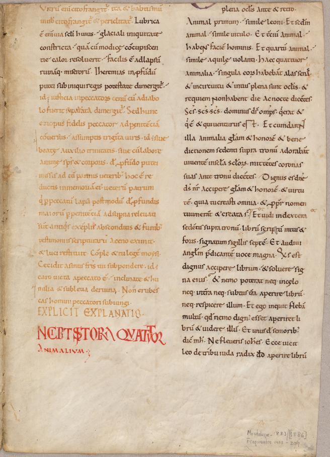Fragmento perteneciente a un manuscrito de principios del siglo XII de 'Comentario al Apocalipsis' de Beato de Liébana