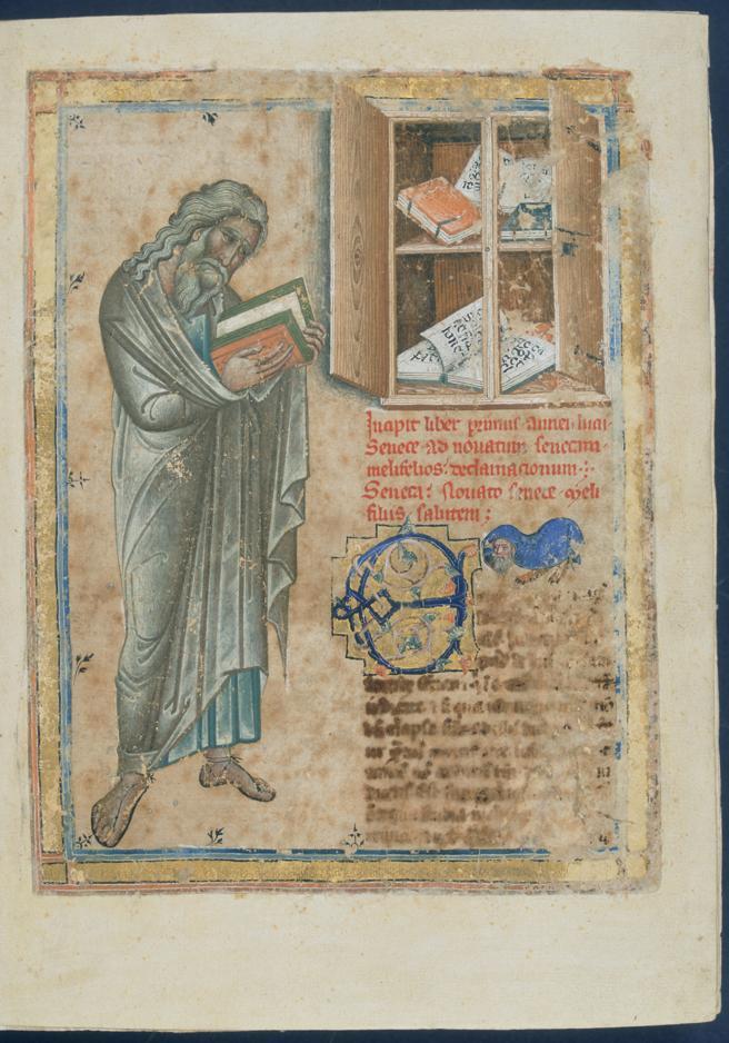 Folio inicial de un manuscrito de la obras de Séneca de finales del siglo XIV