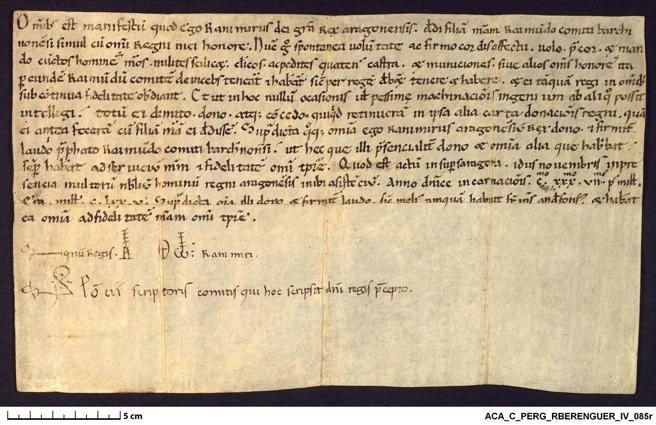 Ramiro II de Aragón comunica a sus súbditos la donación de su hija Petronila y de todo su reino al conde de Barcelona Ramón Berenguer IV