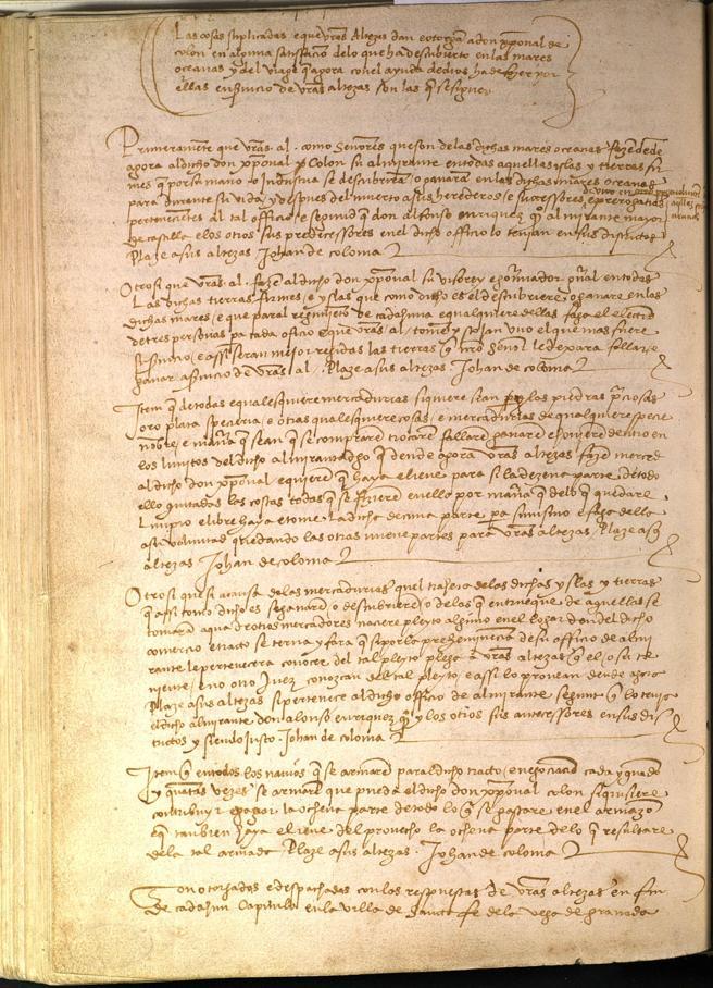 Título de las llamadas capitulaciones de Santa Fe, o acuerdo establecido entre los reyes Católicos y Cristóbal Colón el 17 de abril de 1492