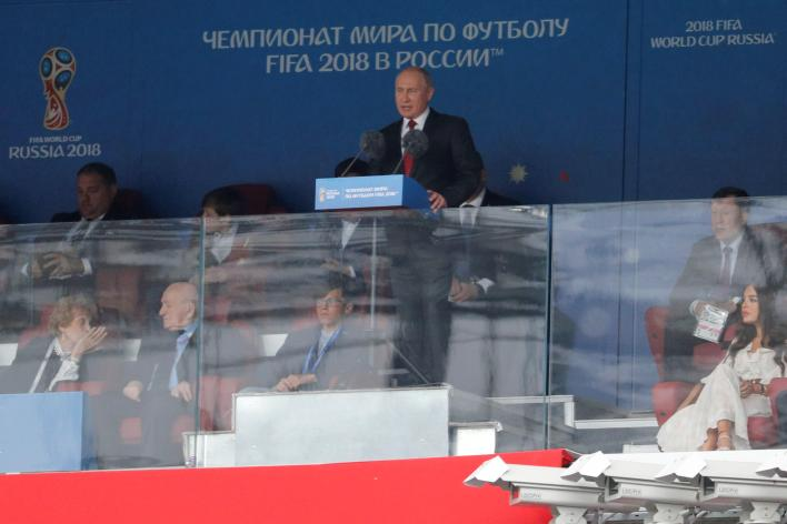 El presidente de Rusia Vladimir Putin interviene durante la ceremonia inaugura del Mundial de Rusia 2018
