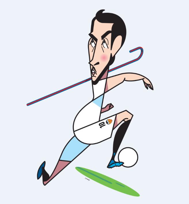 Caricature du footballeur de València, Dani Parejo
