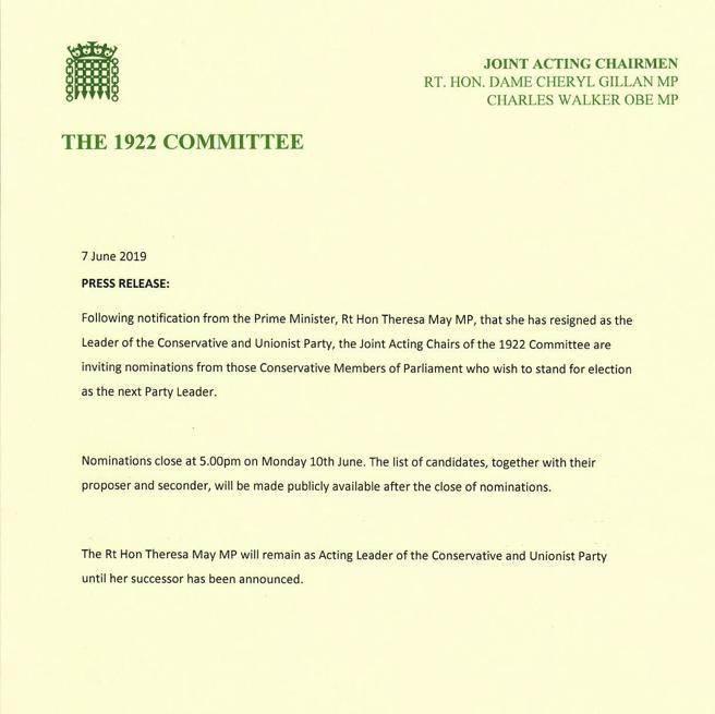 El anuncio oficial de la renuncia de Theresa May