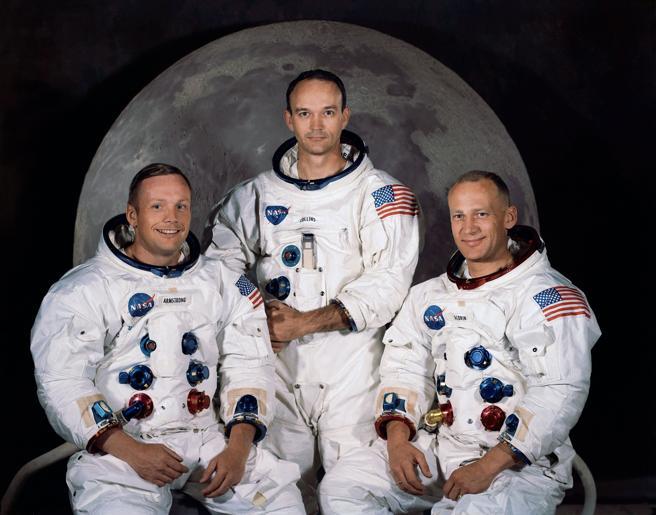 Imagen de la tripulación del Apolo 11, la primera que llegó a la Luna, efeméride que este año cumple medio siglo