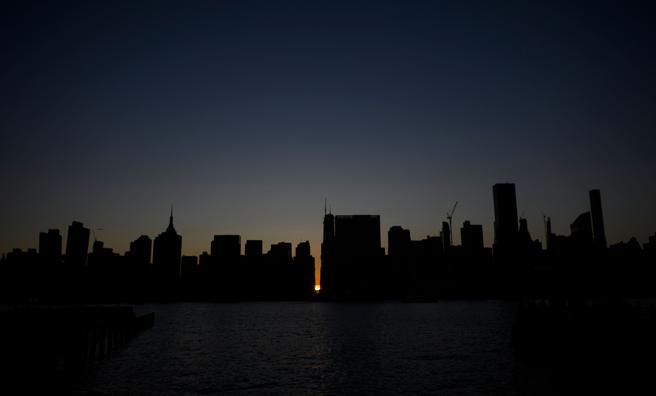 Los rascacielos de Manhattan, a oscuras