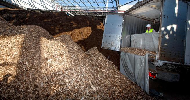 Un camión descarga astilla de biomasa en una central térmica