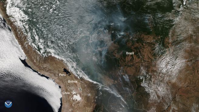 Los incendios en la selva amazónica vistos por el NOAA