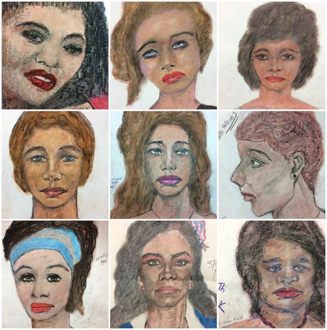 Ilustraciones de algunas de las víctimas de Samuel Little