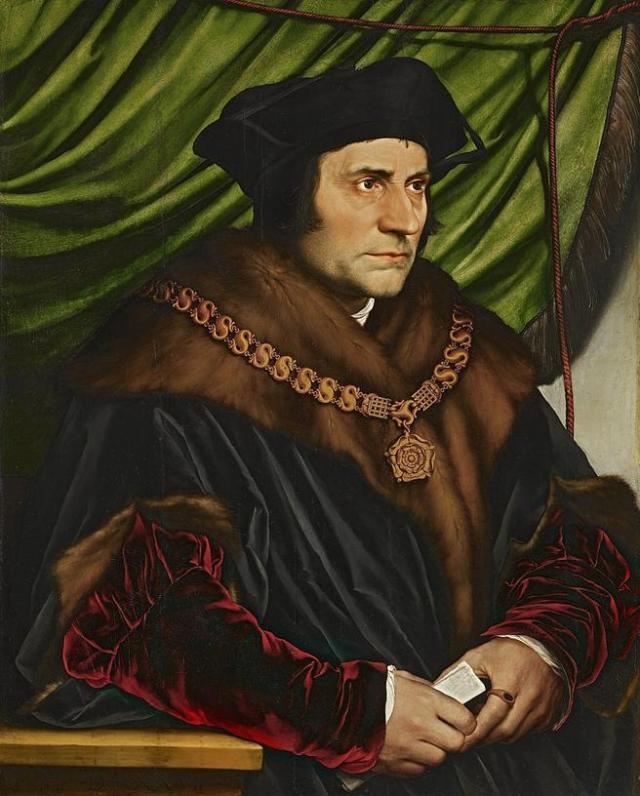 Tomás Moro retratado en 1527 por su coetáneo Hans Holbein el Joven, pintor de la corte de Enrique VIII