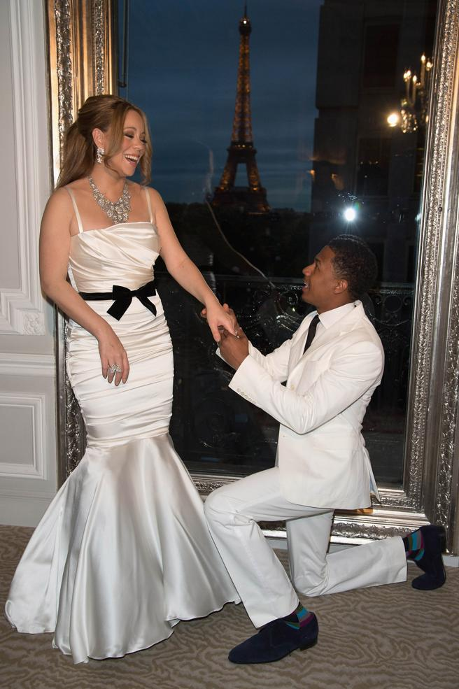 Mariah Carey and her husband Nick Cannon during your ceremony of renewal of vows, April 27, 2012 in Paris