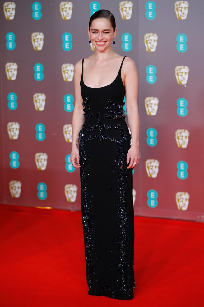 The british actress Emilia Clarke poses at the red carpet arrival to the awards of the British Academy of Film Bafta at the Royal Albert Hall in London on the 2nd of February 2020