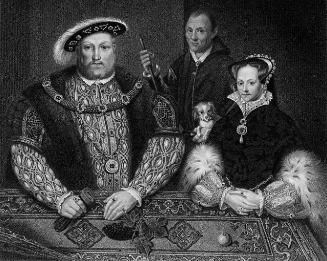 Enrique VIII, su hija María y su bufón Will Sommers.