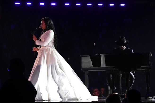 Demi Lovato durant and the Grammy Awards on January 26, 2020, in Los Angeles. (Photo by Robyn Beck / AFP)