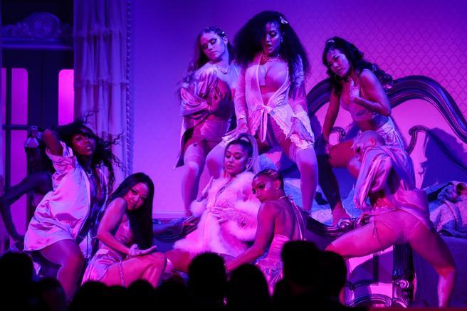 Ariana Grande performing at the Grammys