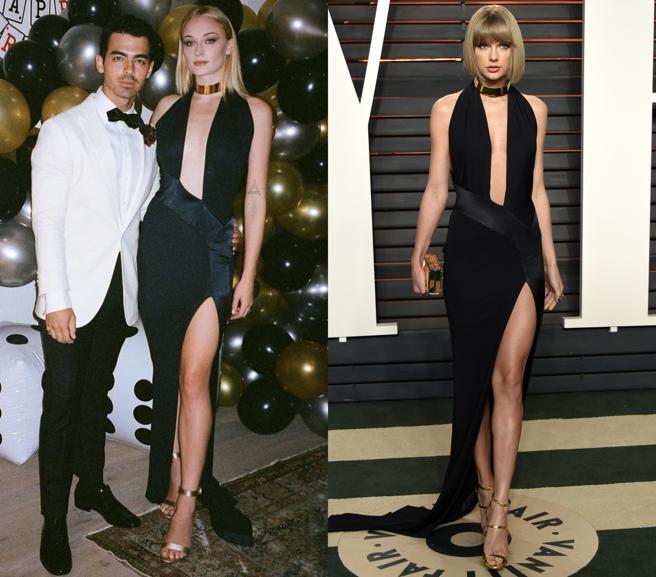 Sophie Turner and Taylor Swift with the same dress of Alexandre Vauthier