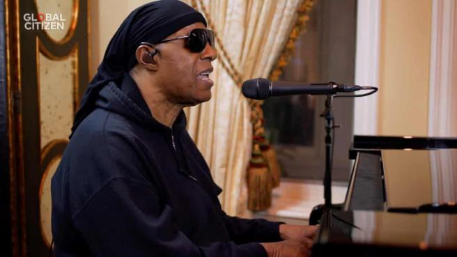 Stevie Wonder during his performance in the macro-concert in solidarity of a Global Citizen