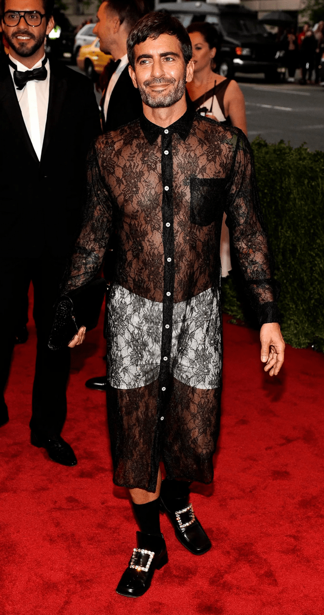The american designer is at the gala in 2014 with his controversial styling