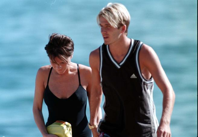 David and Victoria Beckham during a holiday in Marbella in 1999
