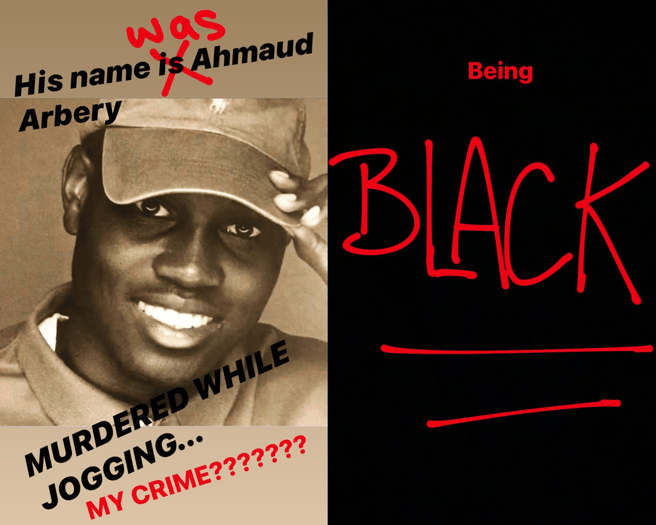 Stories of Instagram Serena Williams on the murder of the young man, which you can read 'His name was Ahmaud Arbery. Killed when he went out to run. What is my crime? To be black'.