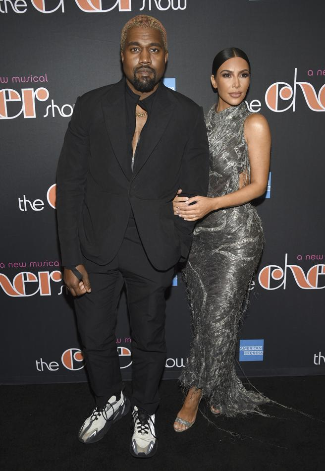 Singer Kanye West and Kim Kardashian in the musical 'The Cher Show' in New York