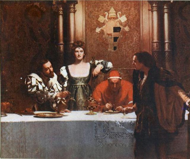 'Una copa de vino con César Borgia' (1893), de John Collier. De izqda. a dcha.: César Borgia, Lucrecia Borgia, el papa Alejandro VI y un joven sosteniendo un vaso vacío.