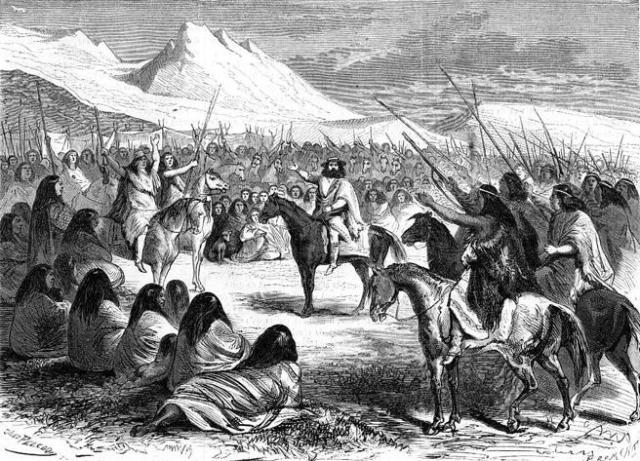 Orélie-Antoine de Tounens aclamado por los jefes mapuches.