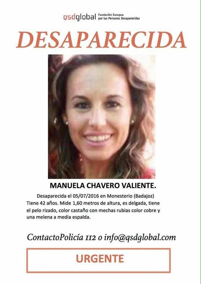 Cartel de la desaparición de Manuela Chavero
