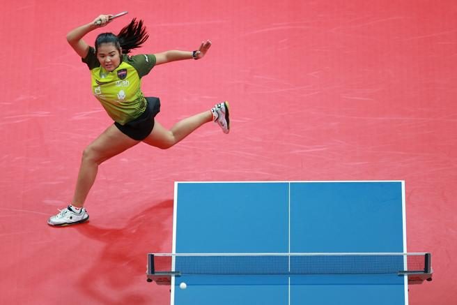 Adriana Diaz, in her ITTF Finals match against Cheng I Ching.